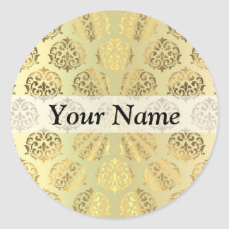 Gold damask classic round sticker