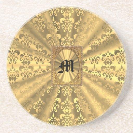 Gold damask coasters