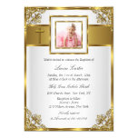 Gold Damask & Cross Photo Baptism/Christening 5x7 Paper Invitation Card