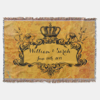 Gold Damask Custom Wedding Royal Crown Throw