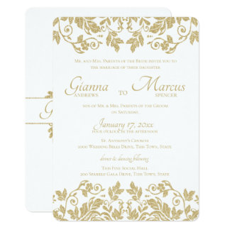 Gold Damask Emblem Wedding Card