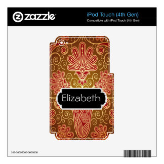 Gold Damask Flower Pattern MP3 Skin Decal For iPod Touch 4G
