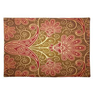 Gold Damask Flower Pattern Placemat Cloth Place Mat