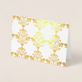 Gold Damask Foil Card