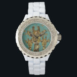"Gold Damask Giraffes Floral Retro Watch<br><div class=""desc"">Design by Nicole King &#169;2013</div>"