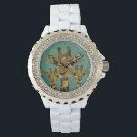 "Gold Damask Giraffes Floral Retro Watch<br><div class=""desc"">Design by Nicole King &#169;2013</div>"