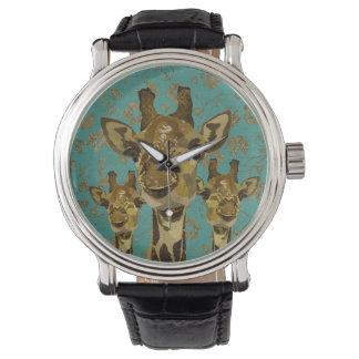 Gold Damask Giraffes Floral Retro Watch