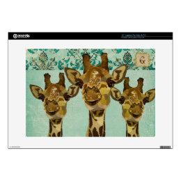 Gold Damask Giraffes Monogram Laptop Skin