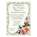 Gold Damask Gold Frame Roses 50th Anniversary Invitation