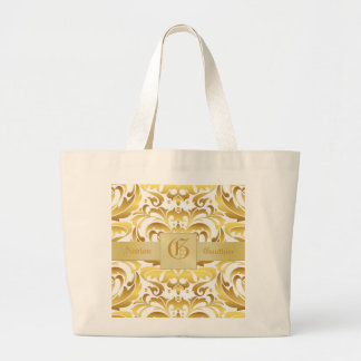 Gold Damask Gold Monogram Christmas Shopping Bag