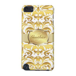 Gold Damask Gold Monogram Ipod  Case