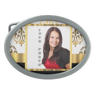 Gold damask instagram photo template belt buckle