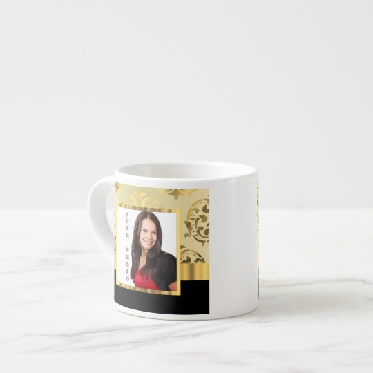 Gold damask instagram photo template espresso cup
