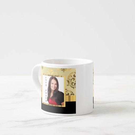 Gold damask instagram photo template espresso mug