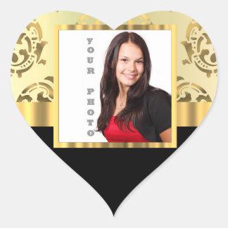 Gold damask instagram photo template heart sticker
