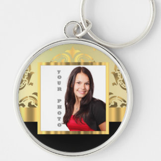 Gold damask instagram photo template keychain
