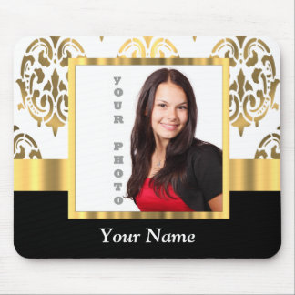 Gold damask instagram photo template mouse pad
