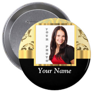 Gold damask instagram photo template pinback button