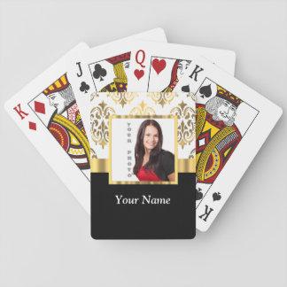 Gold damask instagram photo template poker cards