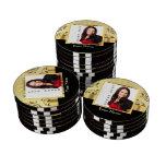 Gold damask instagram photo template poker chips set