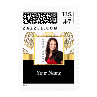 Gold damask instagram photo template postage