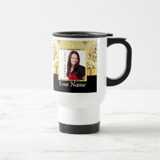 Gold damask instagram photo template travel mug