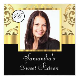 Gold damask instagram  sweet sixteen card