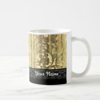 Gold damask & lace coffee mug