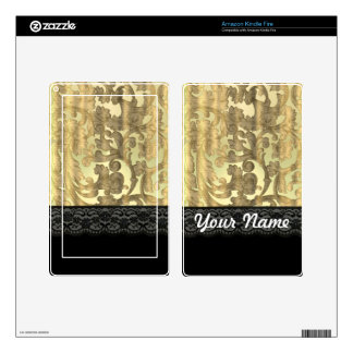 Gold damask & lace kindle fire decal