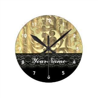Gold damask & lace round clock