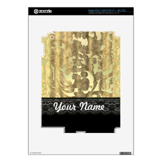 Gold damask & lace skin for iPad 3