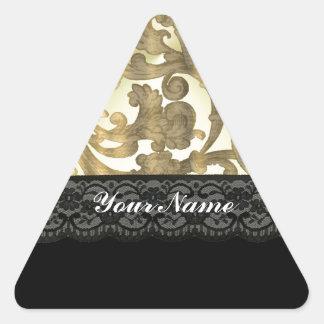 Gold damask & lace triangle sticker