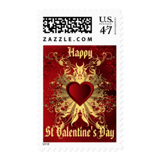 Gold damask love heart postage