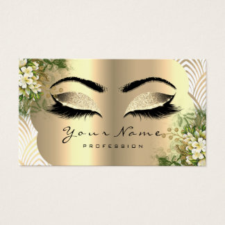 Gold Damask Makeup Artist Lashes Floral Mint White Business Card