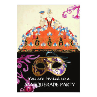 GOLD DAMASK MASK AND ORANGE LADY MASQUERADE PARTY PERSONALIZED INVITE