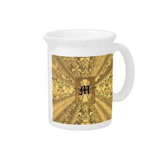 Gold damask monogram drink pitcher