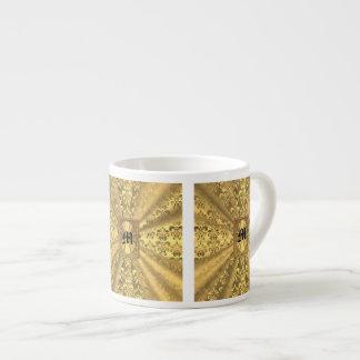 Gold damask monogram espresso cup