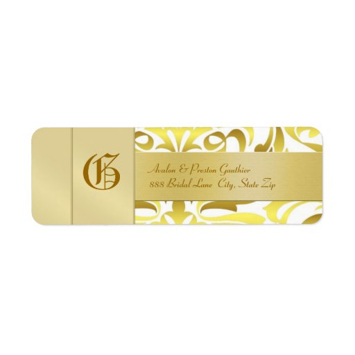 Gold Damask Monogram Gold Wedding Address Label