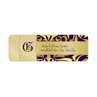 Gold Damask Monogram Purple Wedding Address Label