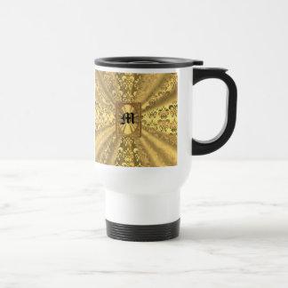 Gold damask monogram travel mug