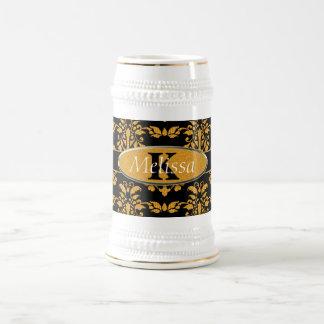 Gold Damask On Black Monogram Beer Stein