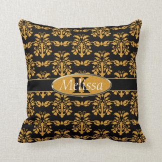 Gold Damask On Black Monogram Throw Pillow