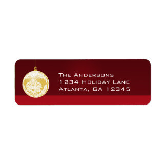 Gold Damask Ornament  Christmas Labels