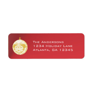 Gold Damask Ornament  Christmas on Red Label
