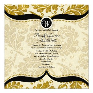 Gold Damask Paisley Wedding Invite