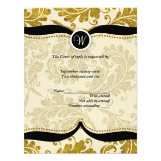 Gold Damask Paisley Wedding RSVP Personalized Announcements