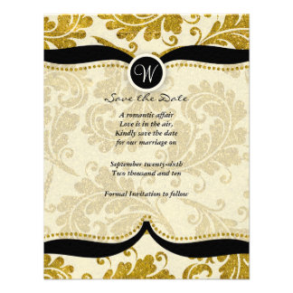Gold damask Paisley Wedding save the date Custom Invitation