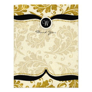 Gold Damask Paisley Wedding Thank you Personalized Announcement