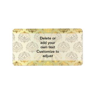 Gold damask pattern address label