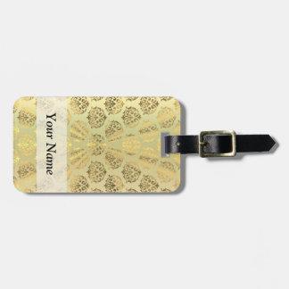 Gold damask pattern luggage tag